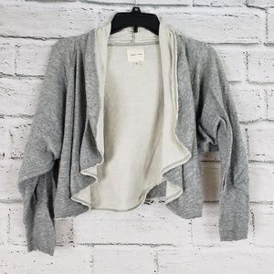 Silence + noise cropped open front cotton cardigan